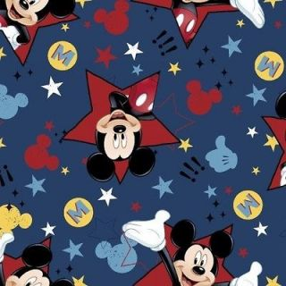 Disney Mickey Mouse in Patchwork Squares on Blue Fabric Fat Quarter