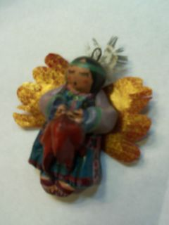 ORnament NaTiVE AMERiCAN Woman Feather Head Piece HandMade 4