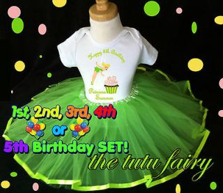Tinkerbell Fairy Birthday Cupcake Shirt & hot green tutu set outfit