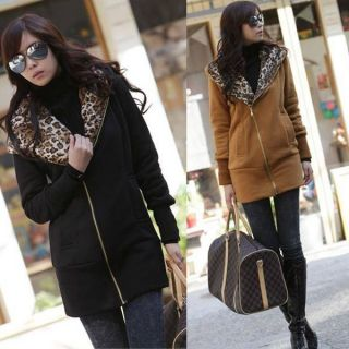 Ladies Women Leopard Single Zipper Sweatshirt Hoodie Jacket TOP Coat
