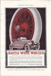 1918 Hayes Wire Wheels Ad on Roadster/ Later became Kelsey Hayes