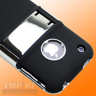 BLACK CASE KICK STAND COVER W/CHROME for Apple iPhone 3G 3GS NEW
