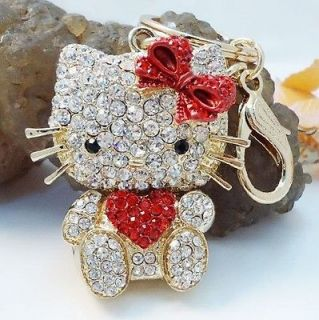 Heart Red Hello Kitty Cat New Fashion Swarovski Crystal Charm Key Bag