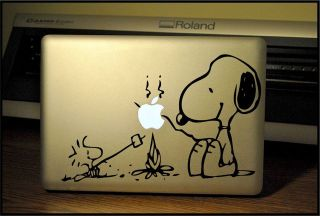 Apple Macbook Pro & Air LAPTOP Decal/Sticker Camping Snoopy