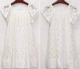 New Women Casual Cap Sleeve Style Lace Crew Neck Mini Lady Dress Skirt