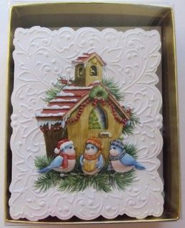 Carol Wilson Gold Box Series Christmas Cards 15 Ct. Bluebirds Caroling
