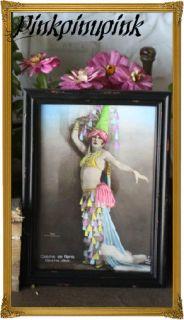 Showgirls Postcard Framed Pinup Flapper Vintage Gypsy Junk Art Emo