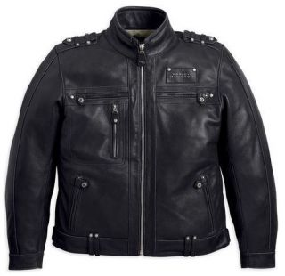Harley Davidson Mens Black Leather Valor Jacket with Removable Vest