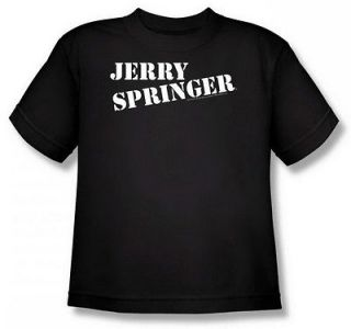 Jerry Springer Logo Youth Black T Shirt NBC121 YT