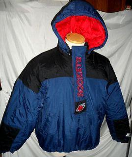 VTG Houston Rockets NBA Hoodie PUFFER Jacket Starter Coat XL Half Zip