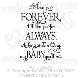 ll Love you Forever Quote Vinyl Wall Decal Lettering Nursery