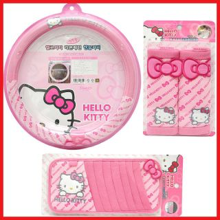 Hello kitty Steering Wheel Cover Shoulder Pad CD 4pc Auto Accessories
