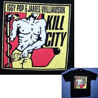 IGGY POP & JAMES WILLIAMSON KILL CITY BLACK T SHIRT XL X LARGE NEW