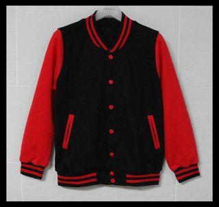 Men Baseball Jacket/Letterman Varsity jacket Black&Red M sz