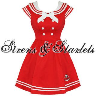 HELL BUNNY SAKURA NEW RED NAUTICAL SAILOR VTG ROCKABILLY MINI PROM