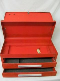 PORTABLE MACHINIST RED KENNEDY 2 DRAWER LOCKING TOOL BOX WITH 2 KEYS
