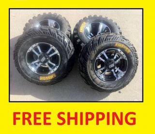 LTZ400 ITP SS112 Black Machine RIMS on CST Ambush Tires Wheels kit
