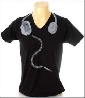 New Indie Rock Black Men V Neck T Shirt Headphones Unplug Size S