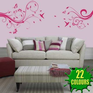 Wallflower With Humming Birds   Wall Decal Sticker lounge living room