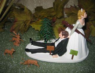 HUMOROUS WEDDING BUCK DOE DEER HUNTER NO HUNTING CAKE TOPPER