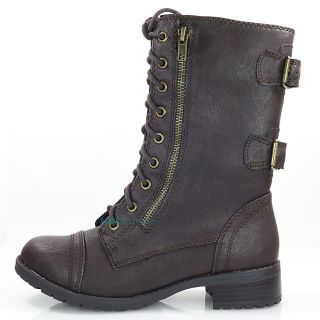 Dome Dk Brown P Leather Women Army Military Combat Lace Up Boots Soda