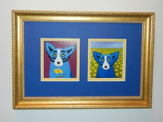 DOUBLE DAISY NOTE CARDS FRAME GEORGE RODRIGUE BLUE DOG **L@@K**