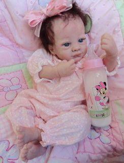 OOAK Reborn baby girl with 3d skin Isabelle art doll artist newborn
