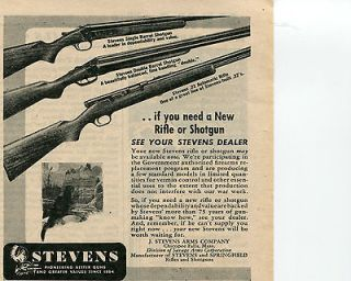 1945 Stevens 22 Rifle Single & Double Barrel Shotgun Farm Gun Ad