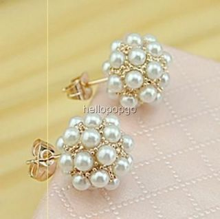 18K Rose Gold Gp Swarovski Pearl Ball Unique Earrings AAA62