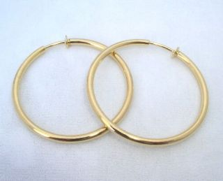 LARGE GOLD GP CLIPON CLIP THICK HOOP Earrings 2 Diameter 3mm wide New