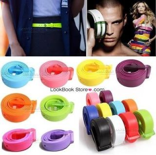Womens Neon Candy Coloured Flouro Jelly Plastic Adjust Buckle Belt 24