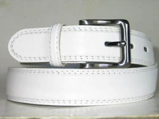 Mens WHITE LEATHER Silver GUN Metal Buckle DRESS Belt XLARGE 42 44 x