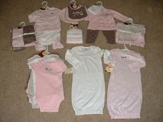 NEW BABY GIRLS CARTERS PINK ELEPHANT LAYETTE {U PICK 1} GOWN BLANKET