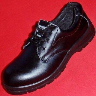 Mens STEEL DOG Slip Resistant Black Leather Work SAFETY STEEL TOE