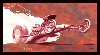 Hemi front engine dragster wheelie burn out art by Lawrence Gardinier