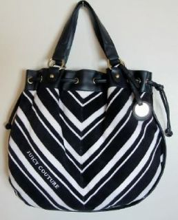 Juicy Couture White/Navy Striped MD Free Style Terry Satchel Bag #