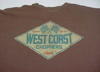 JAMES WEST COAST CHOPPERS MOTORCYCLE BIKER T SHIRT Sz Mens XXL Brown