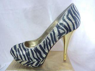 New SM platform stilettos high heel pumps womens shoes golden zebra