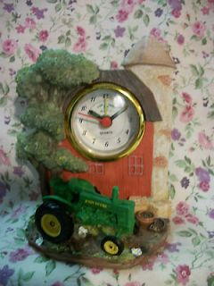 NEW ENESCO JOHN DEERE RESIN ALARM MODEL G TRACTOR CLOCK