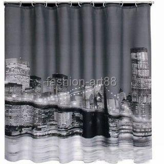 Fashion Beautiful City Night Picture Design Bathroom Fabric Shower