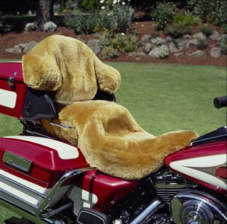 Motorcycle Tailor Made Custom 100% Sheepskin Seat Cover w Back Rest