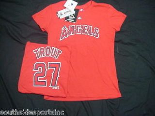MIKE TROUT ANGELS WOMANS MAJESTIC JERSEY SHIRT NEW PICK SIZE SM XL