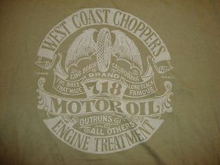 West Coast Choppers 718 Motor Oil Green Graphic Print Tee T Shirt XL