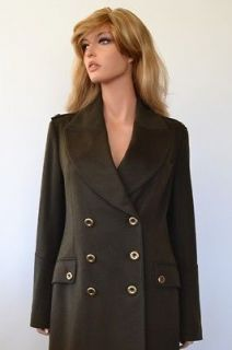 NWT BURBERRY OLIVE CASHMERE WOOL NOVA CHECK MILITARY TRENCH COAT