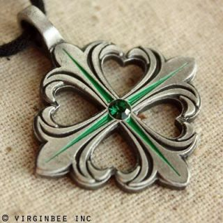 CLOVER SHAMROCK IRISH LUCK CELTIC CROSS FLEUR DE LIS PENDANT NECKLACE