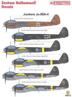 techmod decals 1 48 junkers ju 88a 4 german bomber