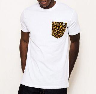 panuu khan white leopard print pocket tee t shirt s