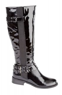 NEW LADIES WOMENS BLACK PATENT RIDDING FASHION KNEE HIGH BUCKLE ZIP