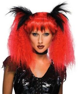 Futuristic Witch Red Pigtails Halloween Costume Women Wig