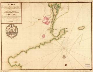 1755 map of Colombia, Santa Marta Plano del puerte de Sta. Marta